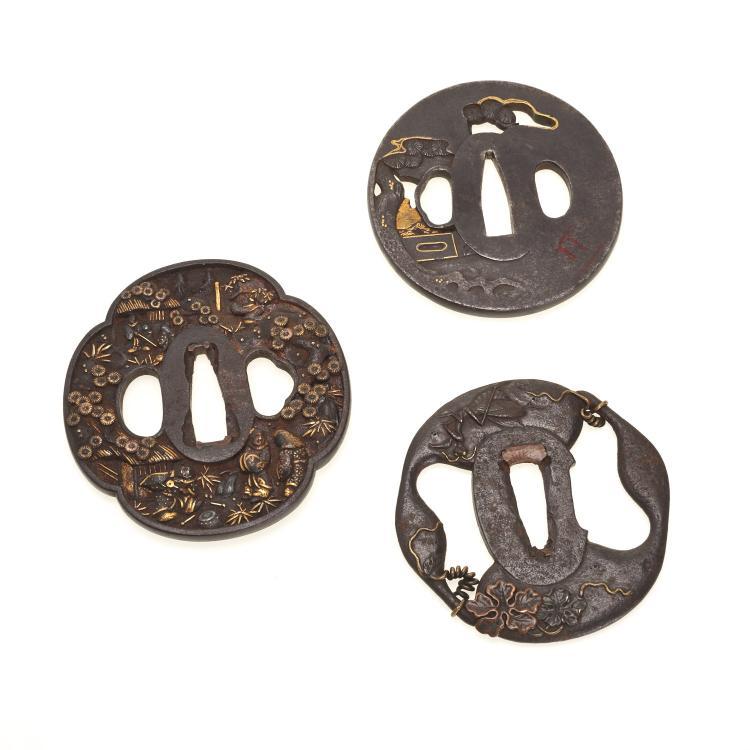 (3) Antique Japanese iron tsuba