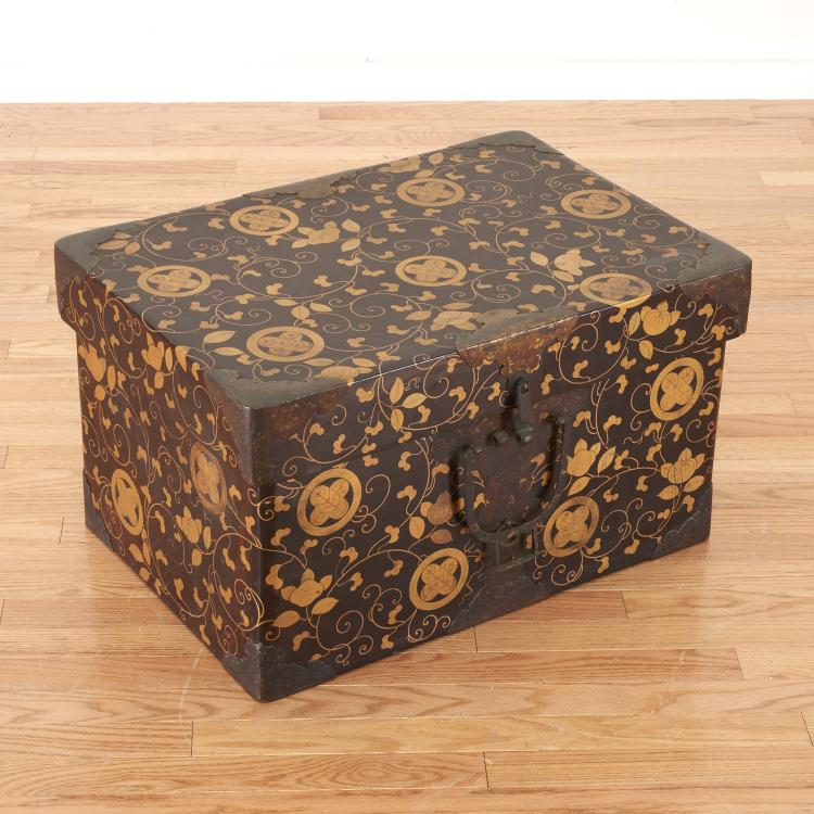 Japanese Meiji lacquer kimono box and cover