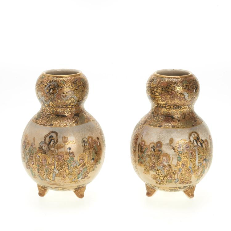 Pr Japanese Satsuma earthenware double gourd vases