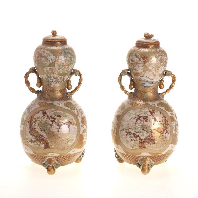 Pr Japanese Satsuma earthenware double gourd jars