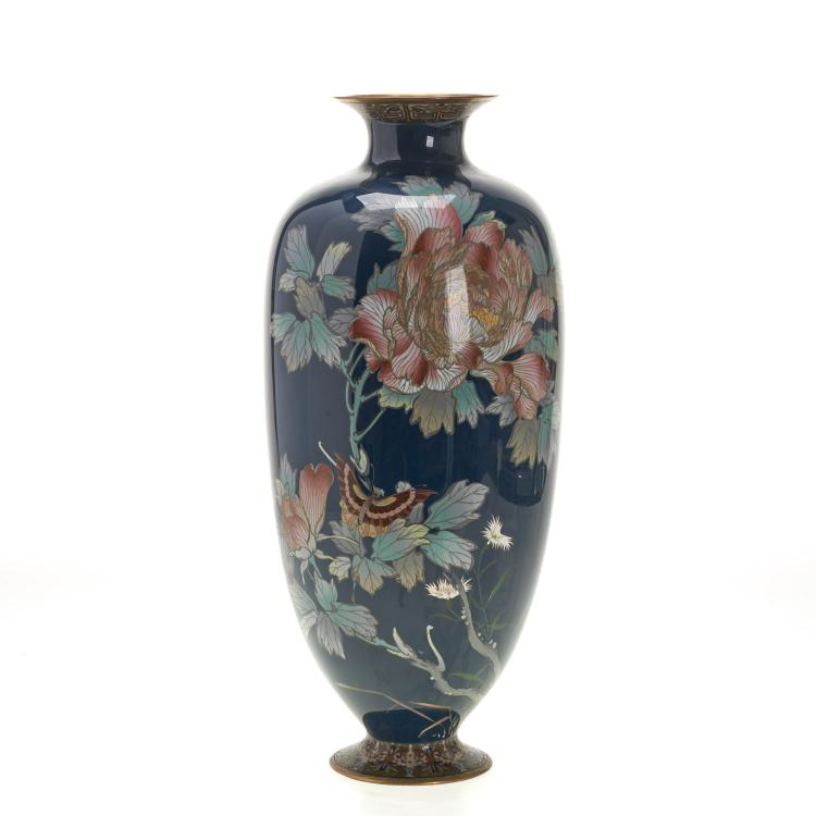 Tall Ando type Japanese cloisonne vase