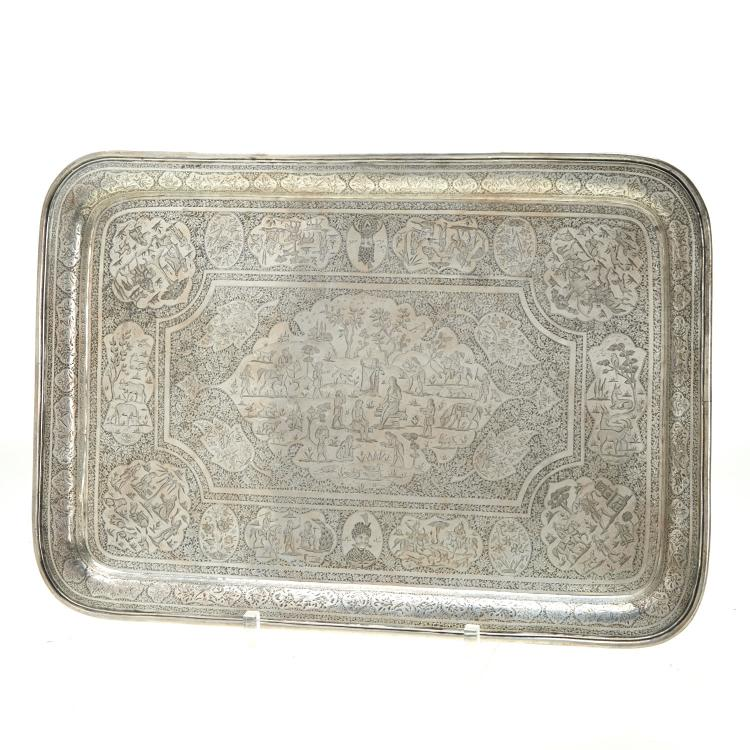 Very fine Indo-Persian engraved silver tray