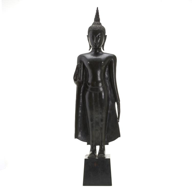 Southeast Asian bronze standing Buddha