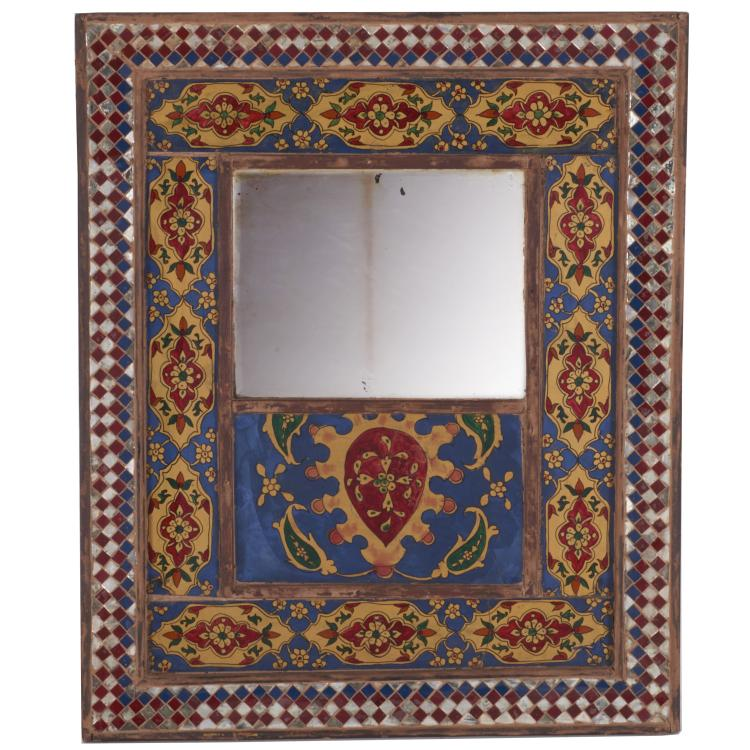 Antique Middle Eastern reverse painted mirror