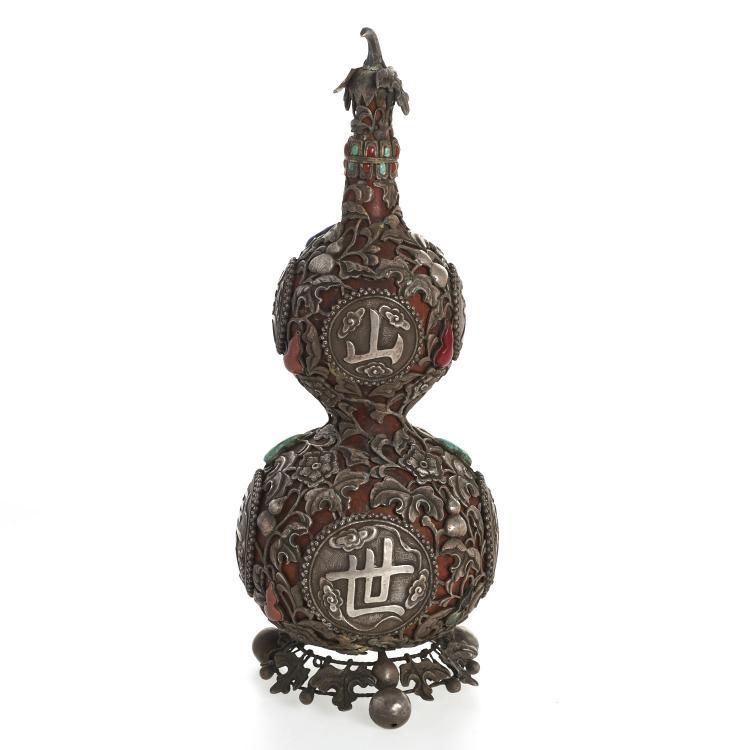 Sino-Tibetan silvered overlay double gourd vase