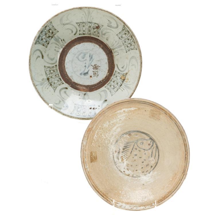 (2) Antique Thai Sawankhalok glazed ceramic dishes