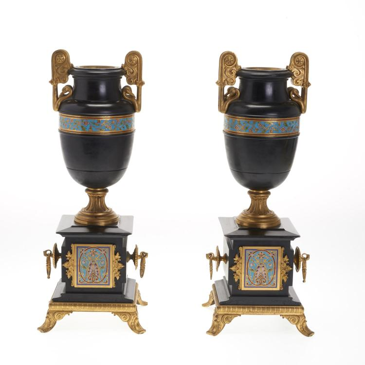 Pair Louis Philippe bronze, champleve, marble urns