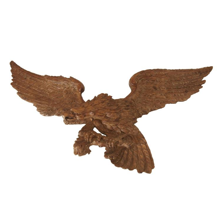 Massive American carved pine eagle plaque