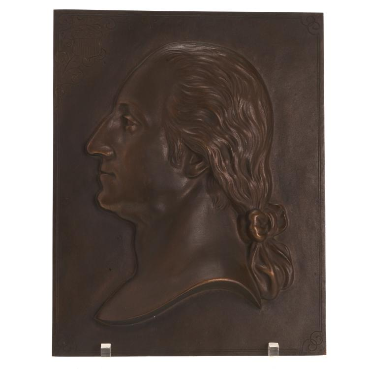 Bronze plaque of Washington, Henry Bonnard Foundry