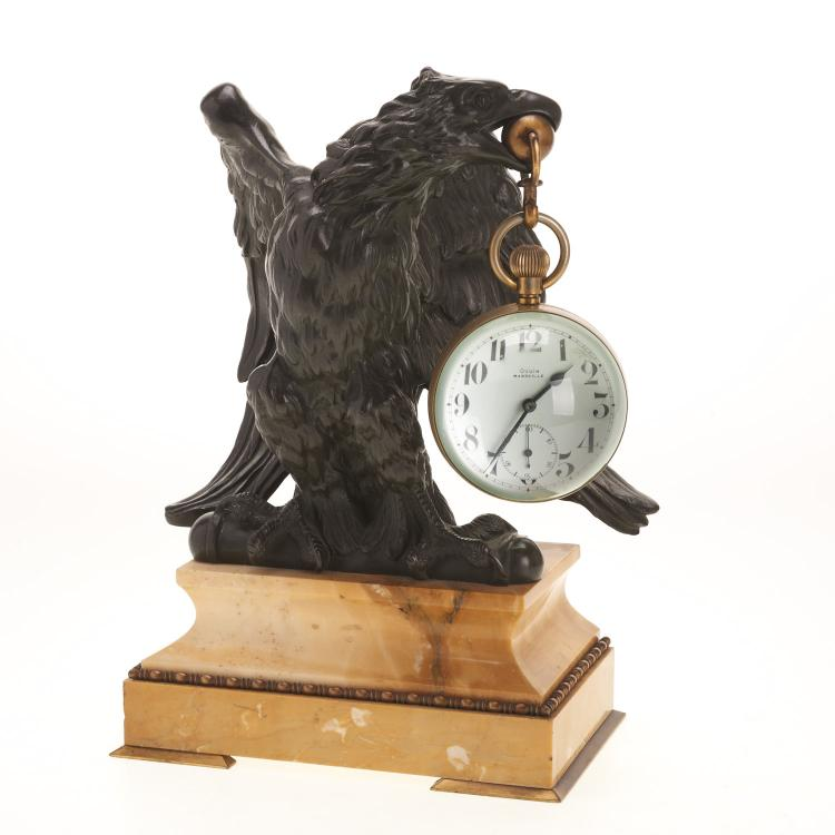 Oudin glass desk watch with bronze eagle stand