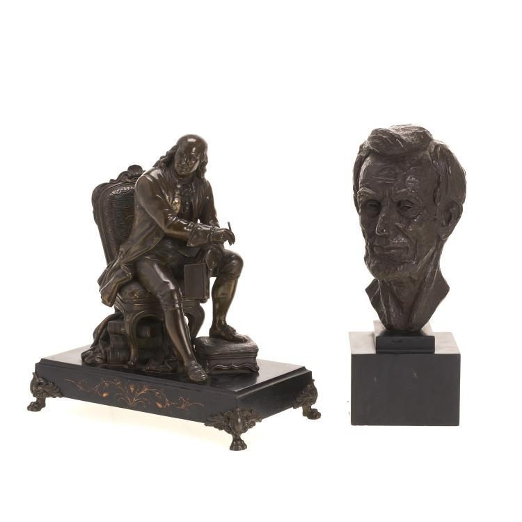 (2) American bronzed presidential sculptures
