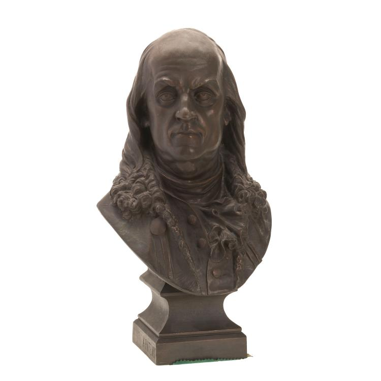 Auguste Poitevin, patinated metal bust