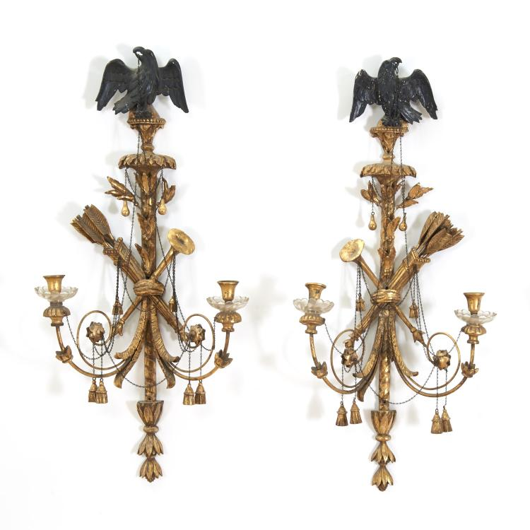 Pair Federal giltwood 2-light wall sconces