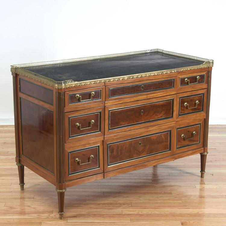 Louis XVI bronze mounted marble top commode