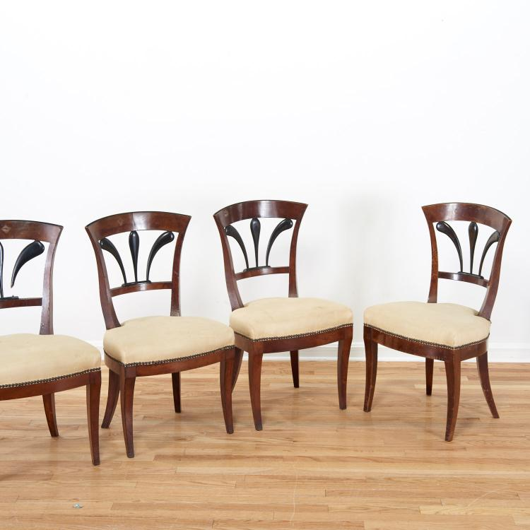 Set (6) Italian parcel ebonized fruitwood chairs
