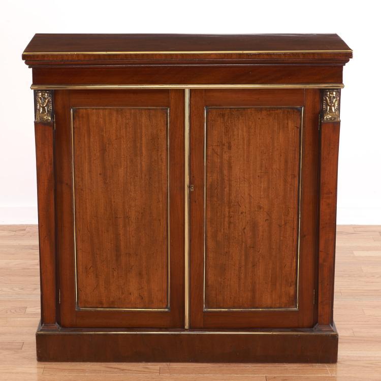 Regency style brass mounted mahogany cabinet