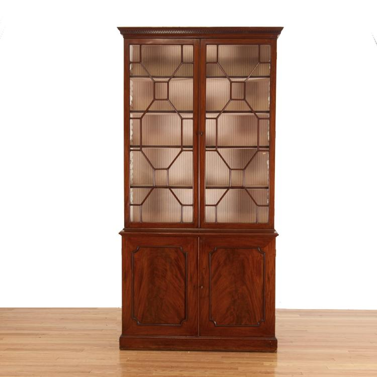 George III style mahogany bookcase cabinet