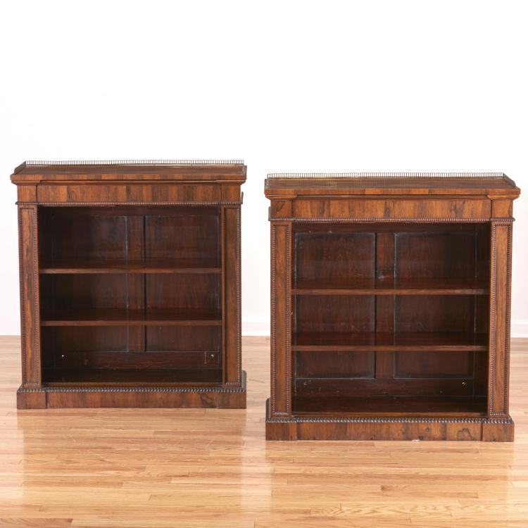 Pair Regency style brass mounted bookcases