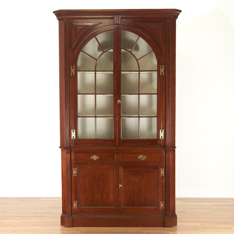 New Jersey walnut corner cupboard