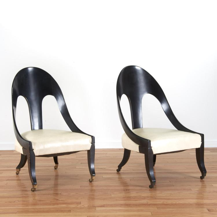 Pair Hollywood Regency spoon-back chairs