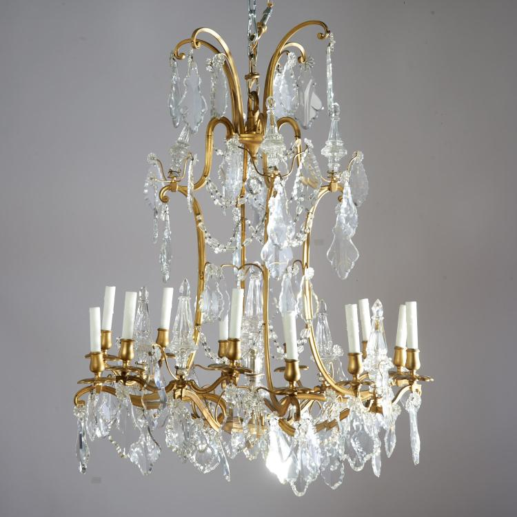 Baccarat style bronze, crystal 12-arm chandelier