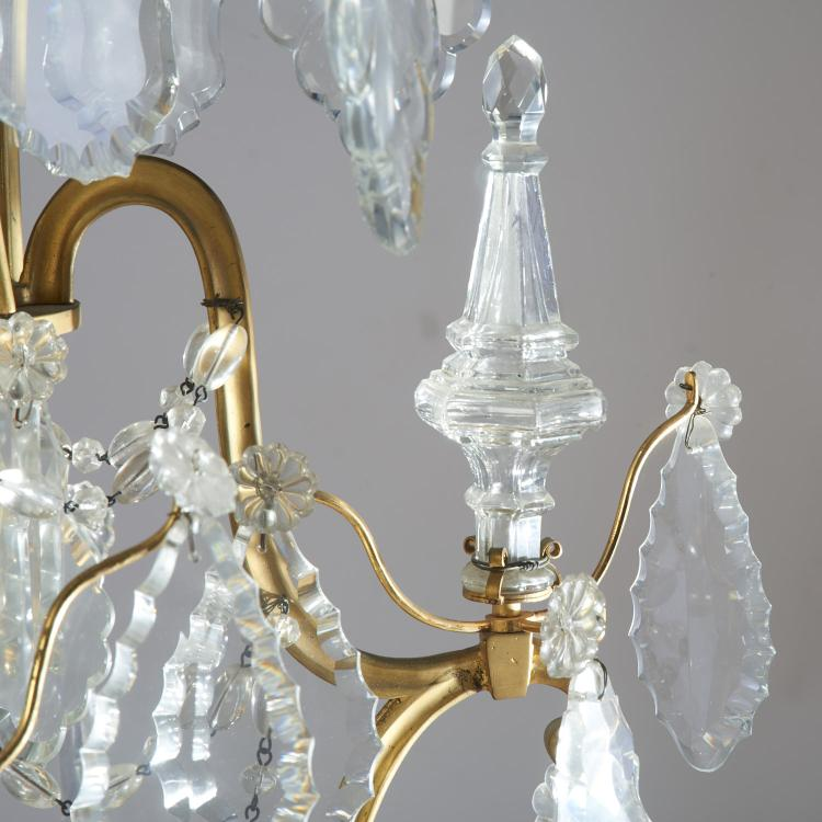 Baccarat Style Bronze Crystal 12 Arm Chandelier