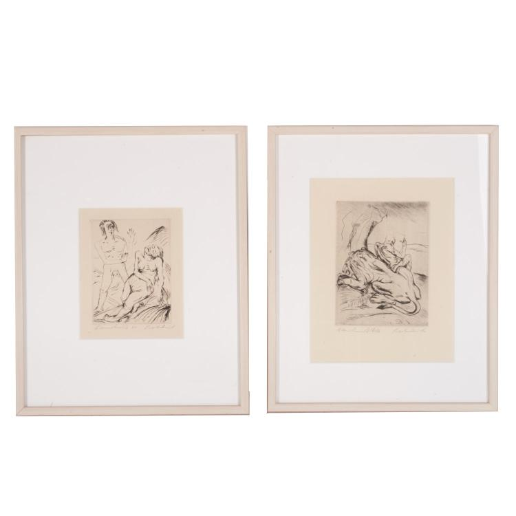 Paul Kleinschmidt, (2) artist's proof etchings