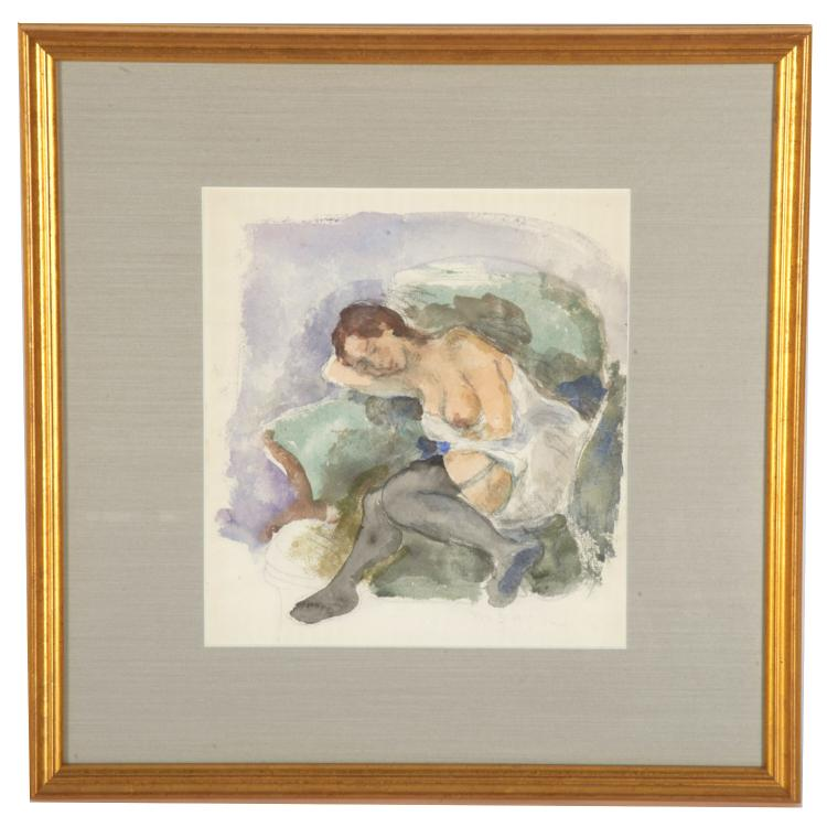Moses Soyer, watercolor painting