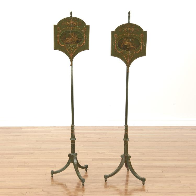 Pair English paint decorated pole screens