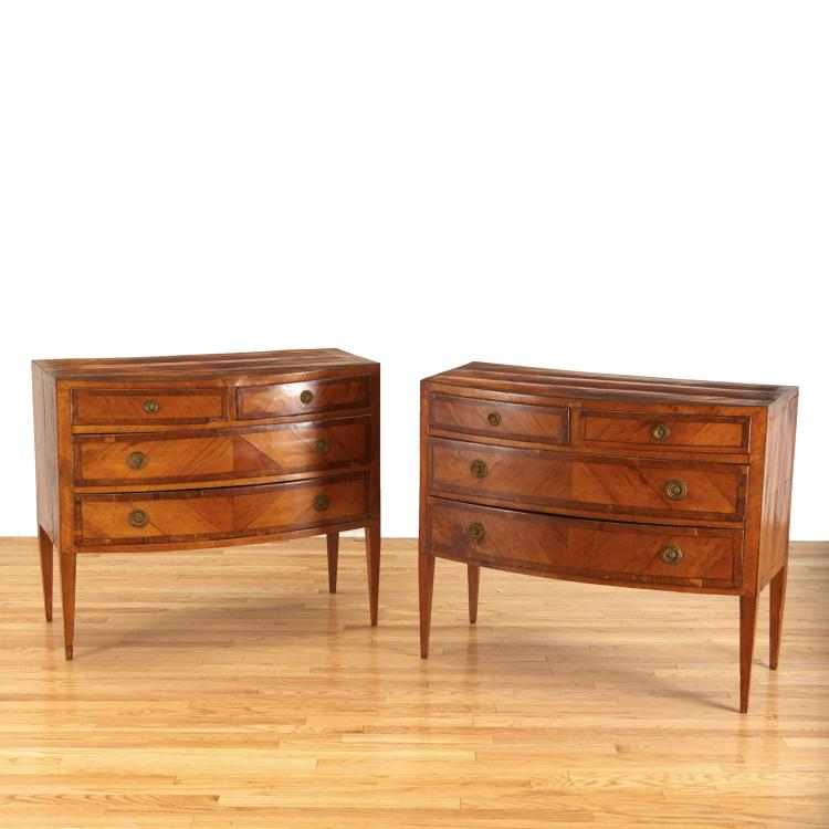 Pair Italian walnut parquetry bow front commodes