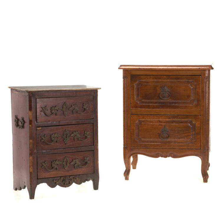 (2) Miniature antique French commodes