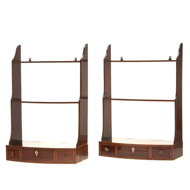Pair Georgian inlaid mahogany whatnot shelves
