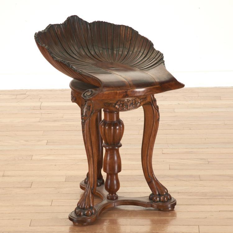 Victorian carved walnut shell piano stool