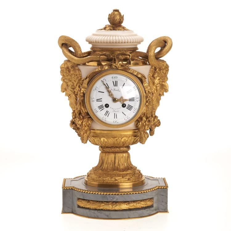 Fine Louis XVI style bronze, marble mantel clock