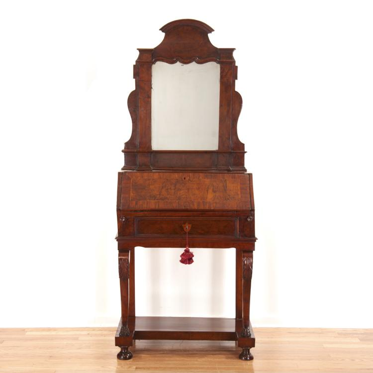Italian burr walnut slant front secretary/mirror