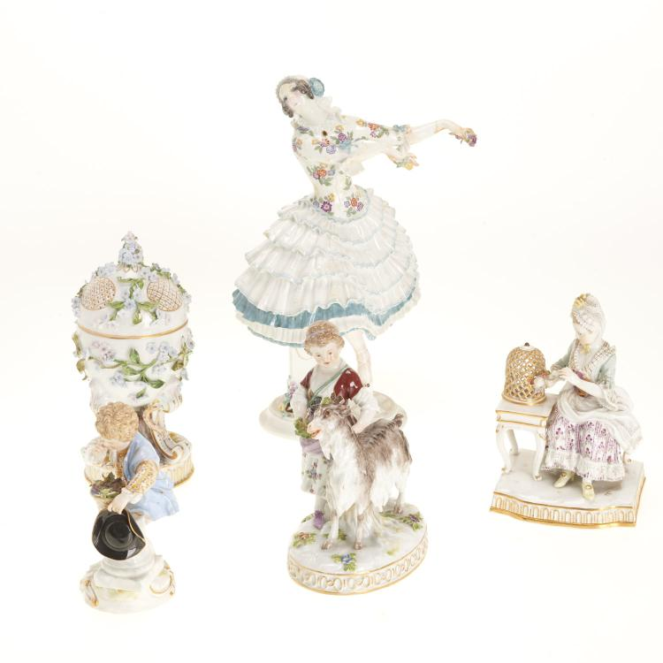 (5) Meissen porcelain figurines and articles