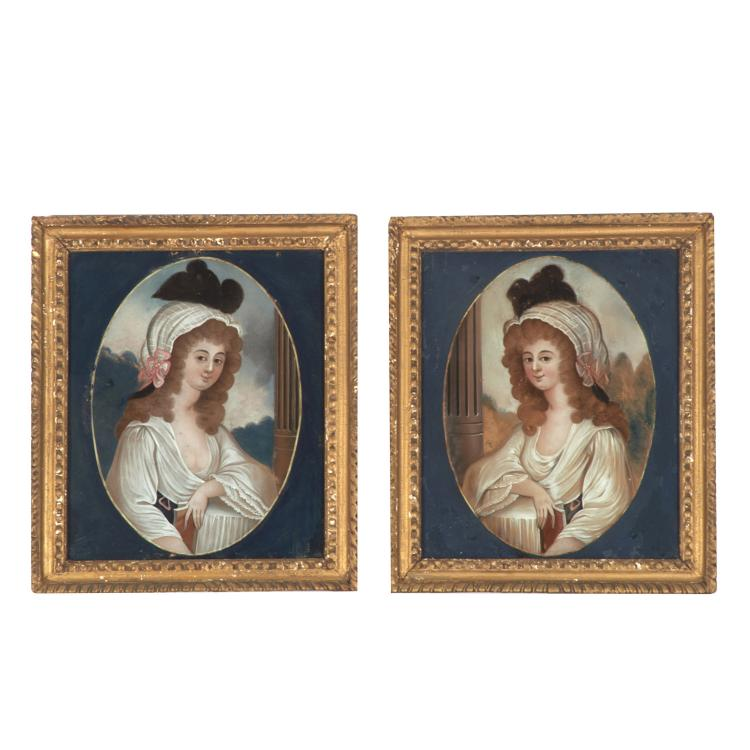 Pair Chinese Export reverse painted portraits