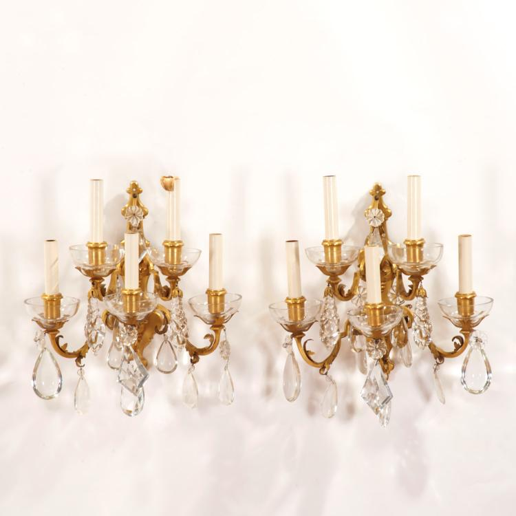 Pair E.F. Caldwell bronze, crystal 5-light sconces
