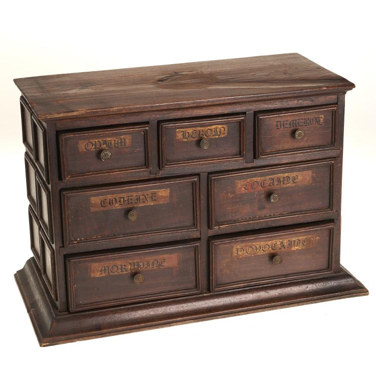 Diminutive antique apothecary drug cabinet