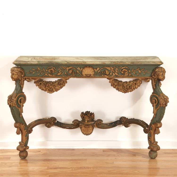 Italian Rococo parcel gilt, green painted console