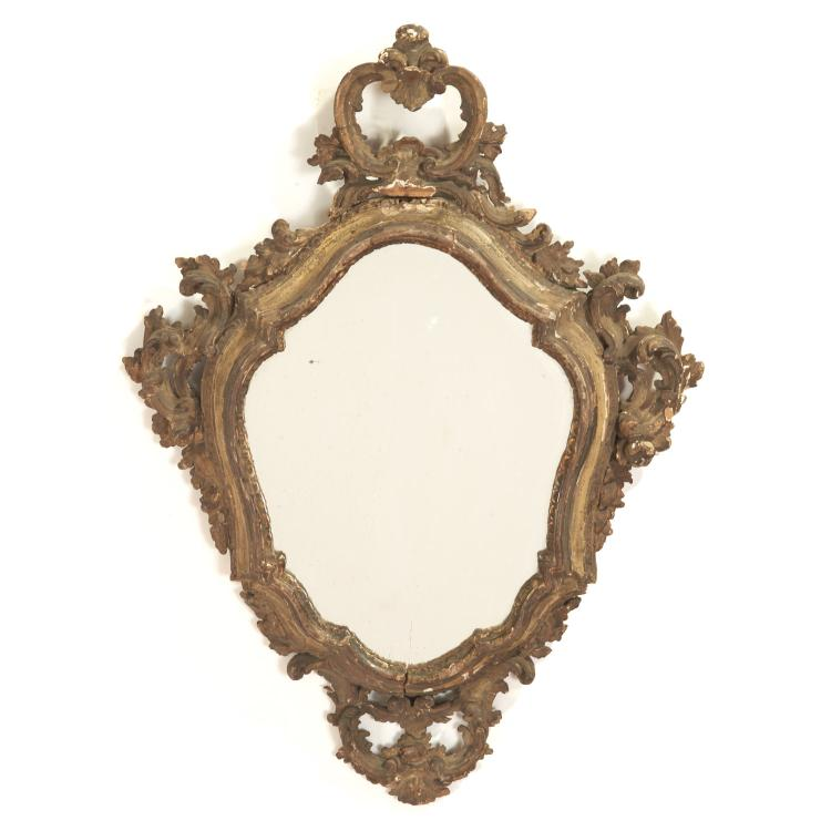 Continental Rococo giltwood wall mirror