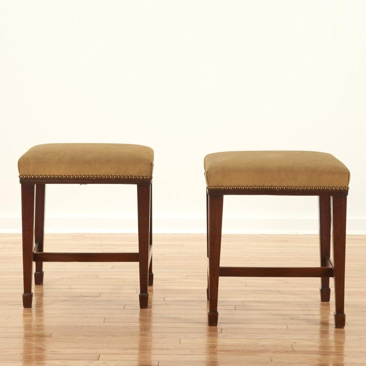 Pair George III suede tacked mahogany stools