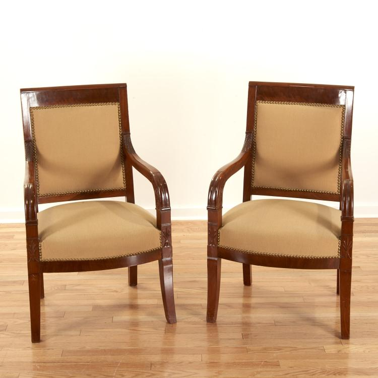 Pair Restauration style mahogany armchairs