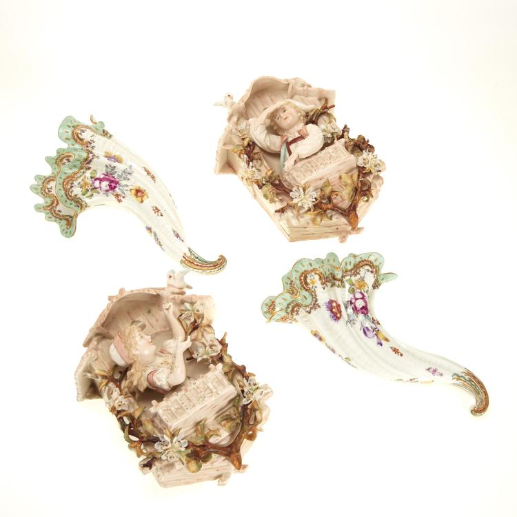 (2) Pr Antique Continental porcelain wall pockets