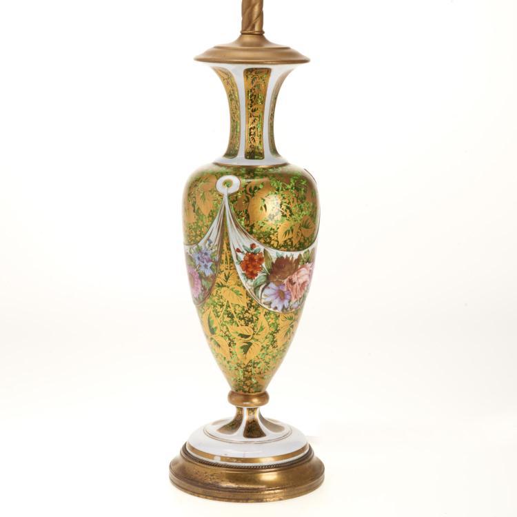 Bohemian gilt, enameled emerald glass vase lamp
