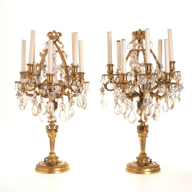 Pr Louis XVI style gilt bronze, crystal candelabra
