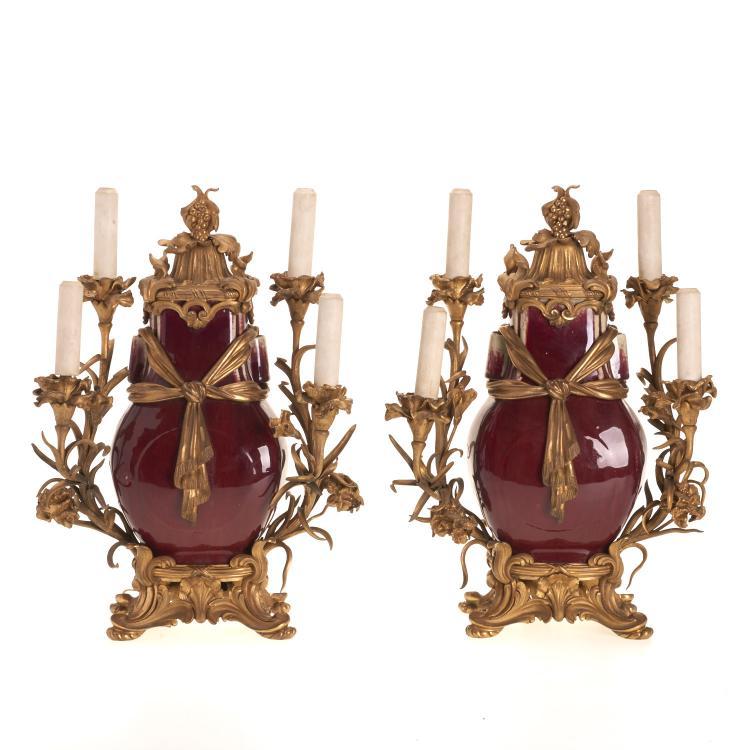 Pr Louis XV style gilt bronze, oxblood candelabra
