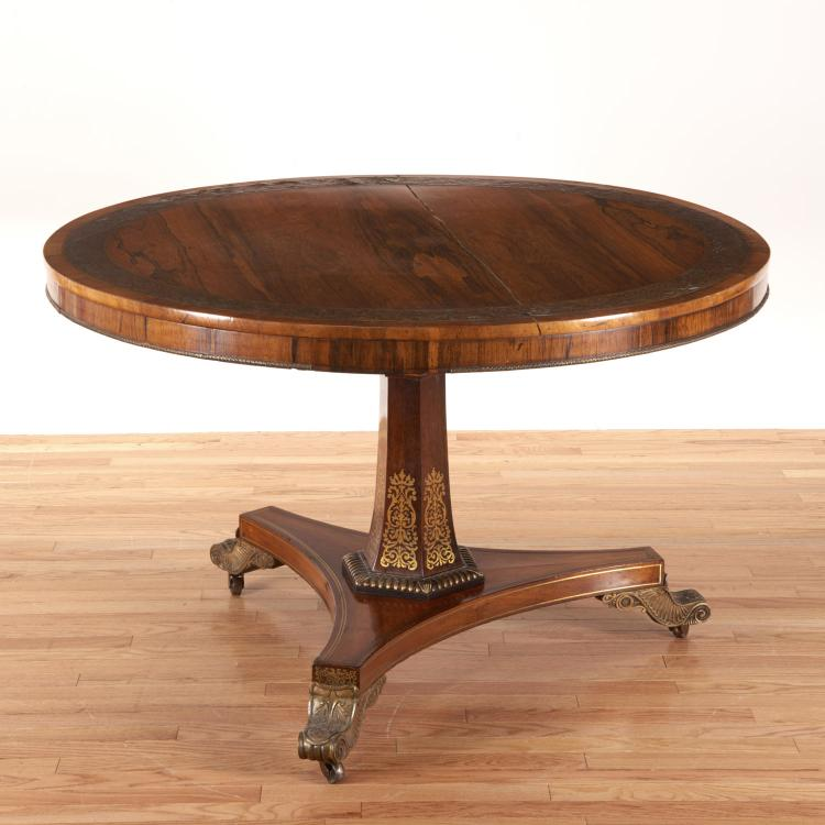 Victorian brass inlaid center table