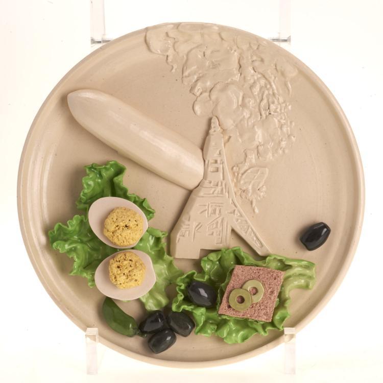 Trompe l—eil ceramic dish, signed C. Turner