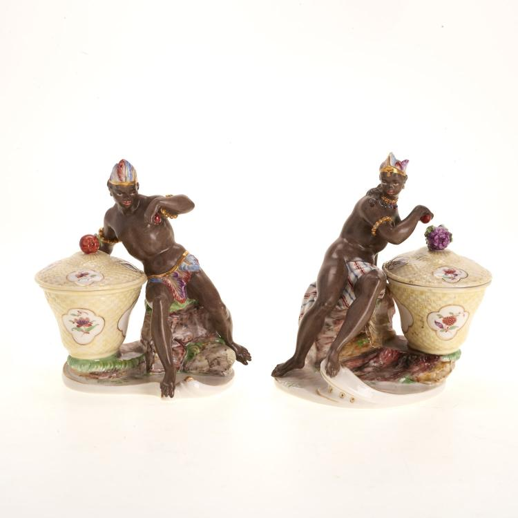 Pr Nymphenberg blackamoor porcelain sweetmeat jars